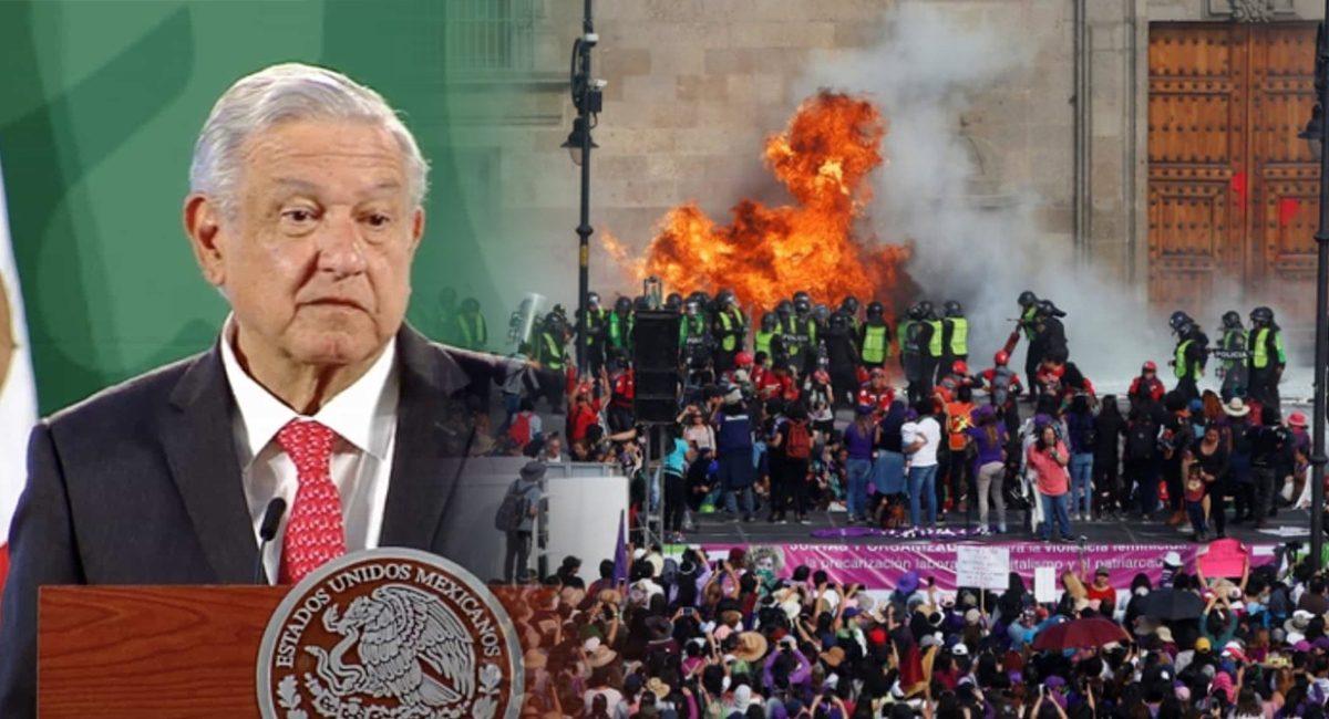 AMLO - Protestas feministas con bombas molotov