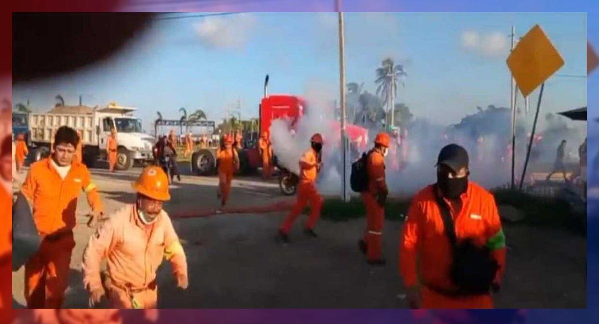 Represión a trabajadores en huelga en la construcción de la refinería de Dos Bocas