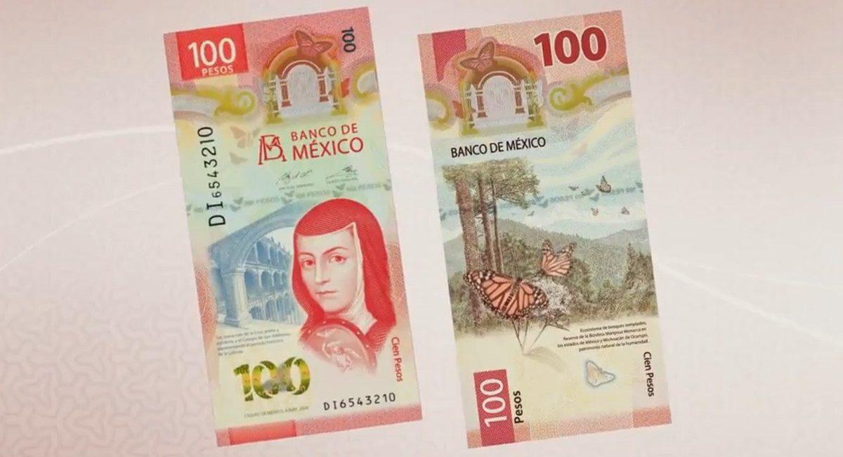 nuevo billete 100 pesos sor juana